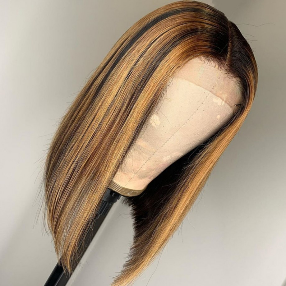 Uglam Bob Lace Front Wig Piano Color Highlight #4/27 Straight