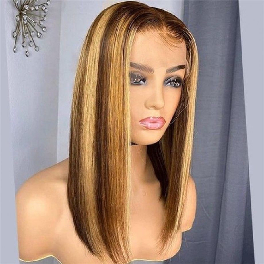 Uglam 4x4 Lace Piano Color Highlight #4/27 Straight Bob Wig