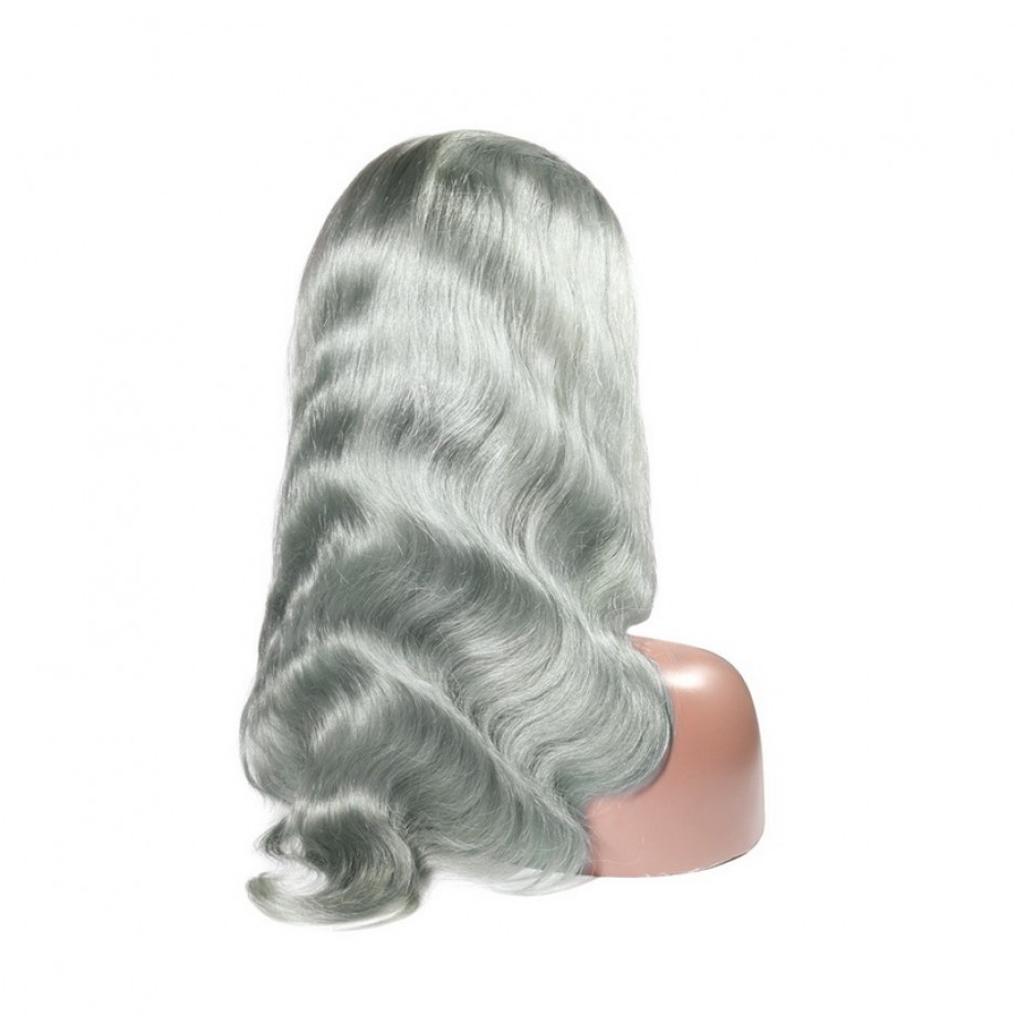 Uglam Grey Lace Front Wigs Silver Color Body Wave 150% Density