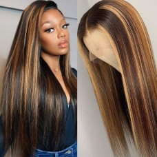 HD Highlight Piano Color Highlight #4/27 Straight T Part Lace Front Wig