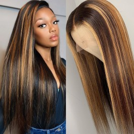UglamT Part Lace HD Highlight Piano Color #4/27 Straight Front Wig