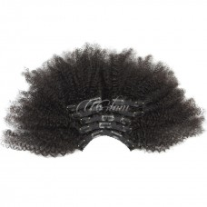 Uglam Clips Human Hair Extension Afro Kinky Curly (7 pcs/set)