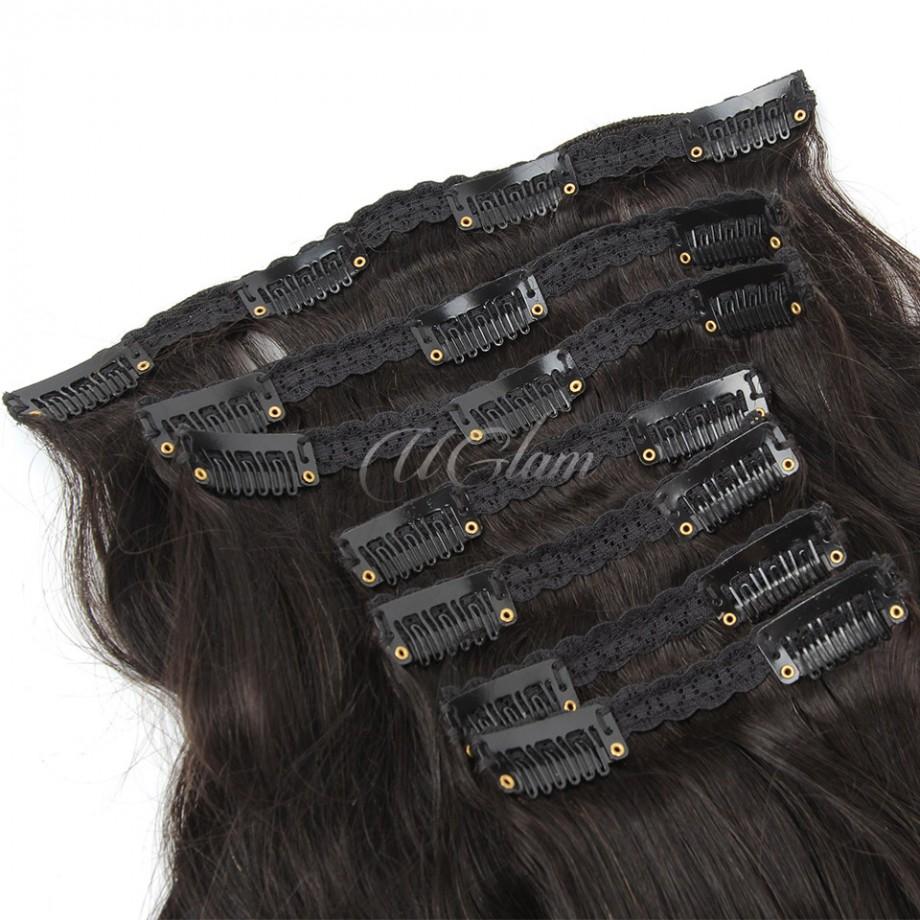 Uglam Hair Clips Human Hair Extension Body Wave (7 pcs/set)