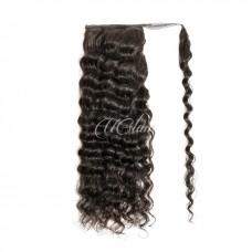 Uglam Human Virgin Hair Ponytail Extension Loose Deep Wave With Hair Drawstrings