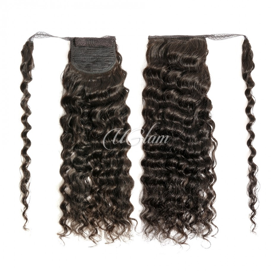 Uglam Human Virgin Hair Ponytail Extension Loose Deep Wave With Hair Drawstrings