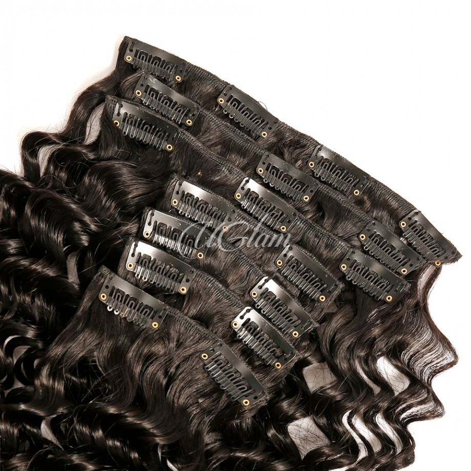 Uglam Clips Human Hair Extension Deep Wave (7 pcs/set)