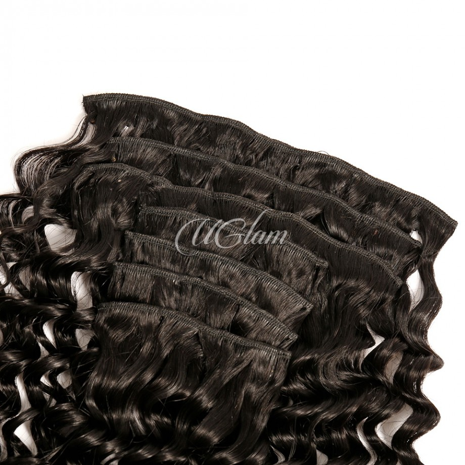 Uglam Hair Clips Human Hair Extension Deep Wave (7 pcs/set)