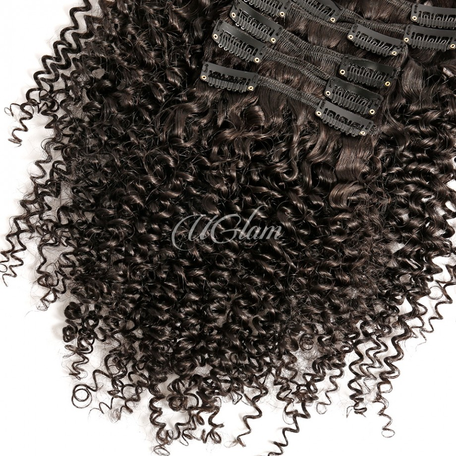 Uglam Hair Clips Human Hair extension Kinky Curly (7 pcs/set)