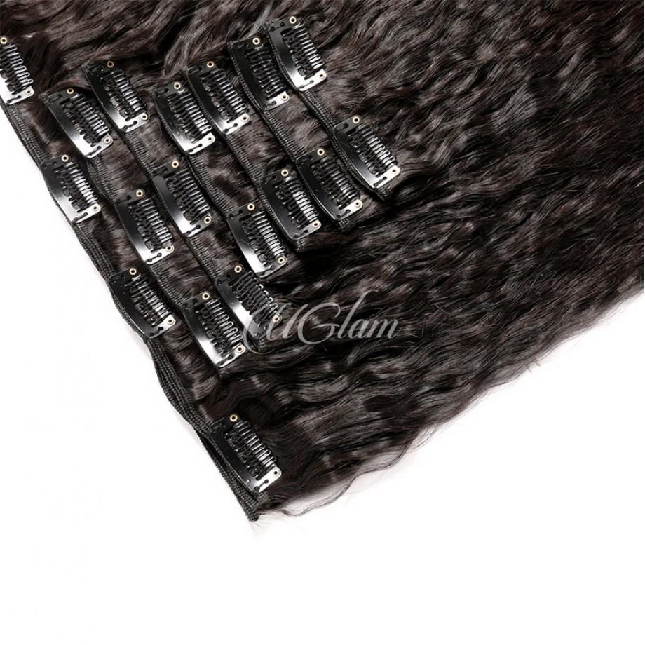 Uglam Hair Clips Human Hair Extension Kinky Straight (7 pcs/set)
