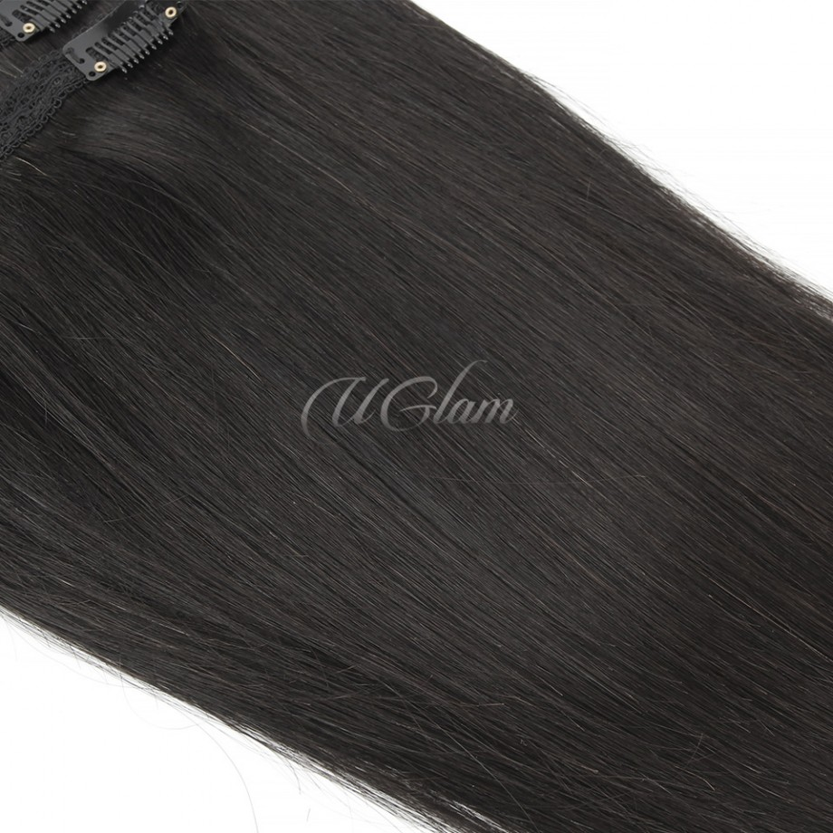 Uglam Hair Clips Human Hair Extension Straight (7 pcs/set)