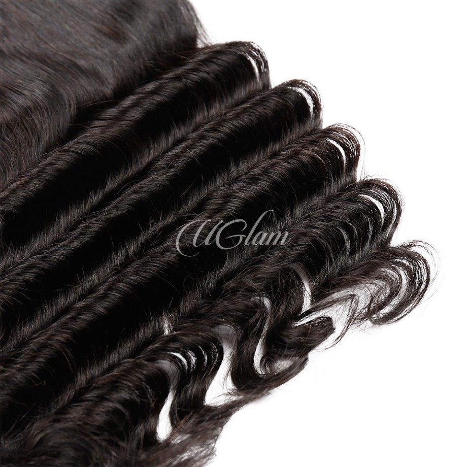 Uglam Hair Bundles With 4x13 Lace Frontal Closure Indian Loose Deep