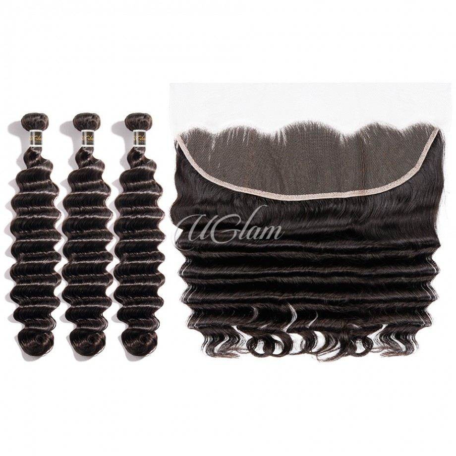 Uglam Hair Bundles With 13x4 Lace Frontal Closure Indian Loose Deep
