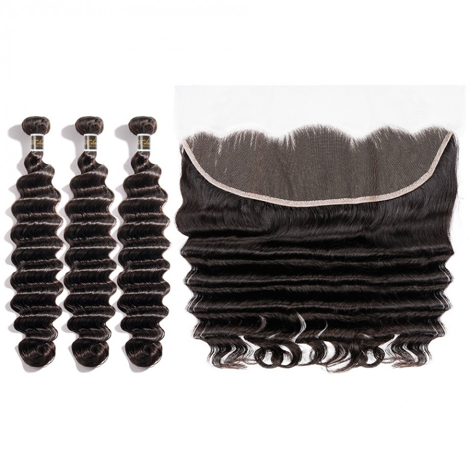 Uglam Bundles With 13x4 Lace Frontal Closure Brazilian Loose Deep