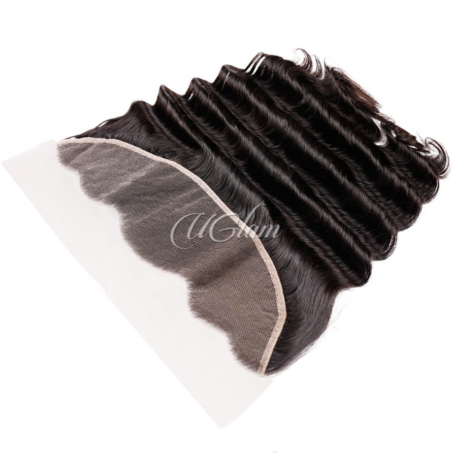 Uglam Hair Bundles With 4x13 Lace Frontal Closure Brazilian Loose Deep