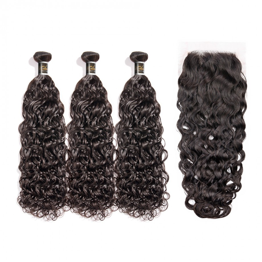 Uglam 4x4 Lace Closure With Bundles Water Wave