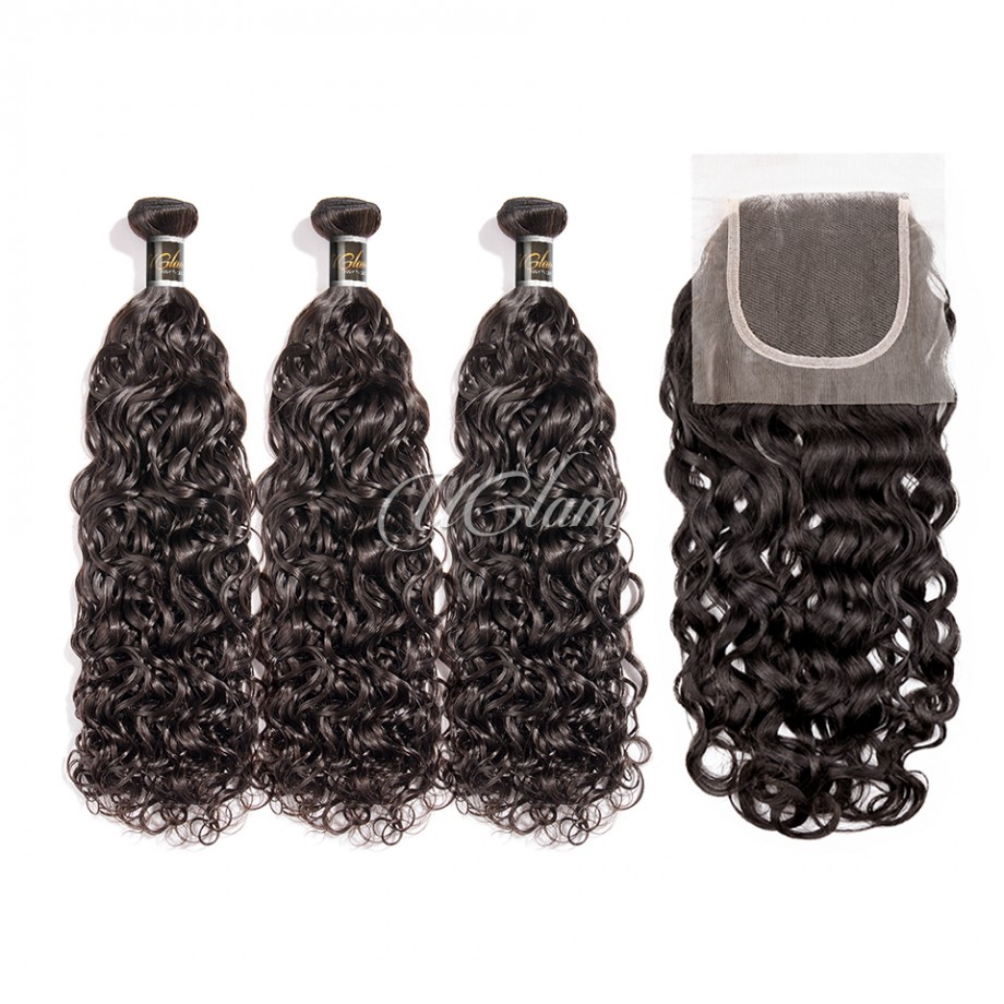 Uglam Hair 4x4 Lace Closure With Bundles Roman Curl Hair Sexy Formula