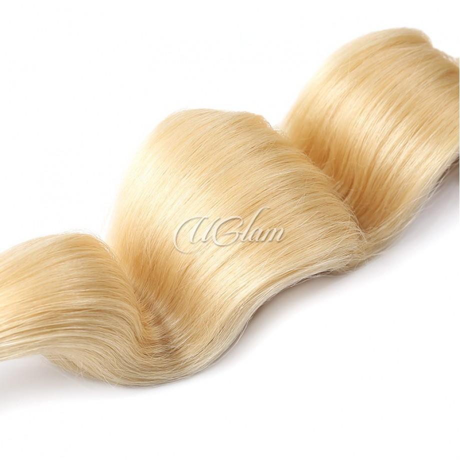 Uglam Bundles With 6x6 Lace Closure Honey Blonde #613 Color Body Wave