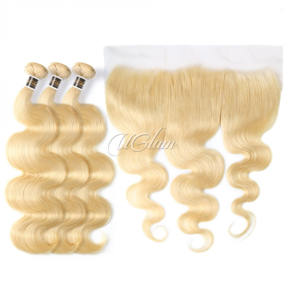 Uglam Hair Bundles With 13x6 Lace Frontal Blonde #613 Color Body Wave