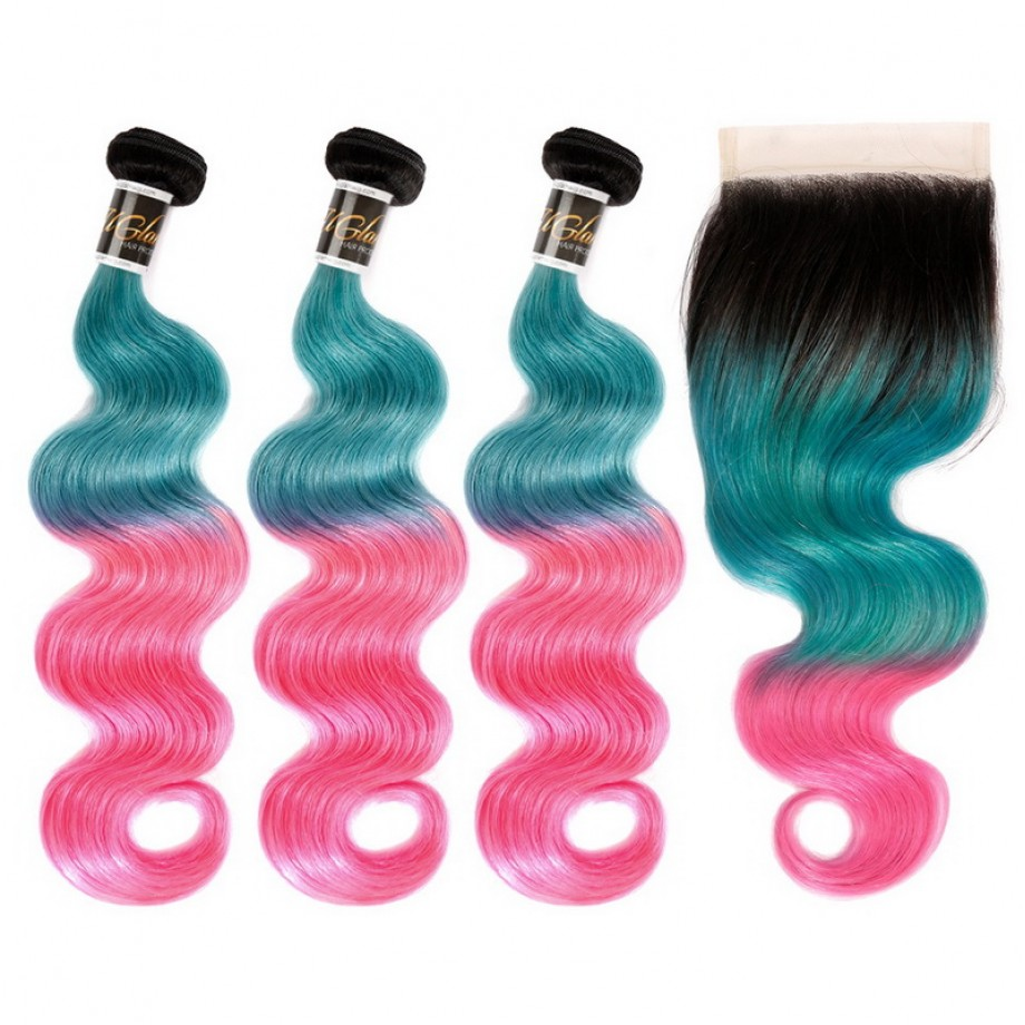 Uglam Hair Bundles With 4x4 Swiss Lace Closure Ombre Blue Coral and Baby Pink Color Body Wave