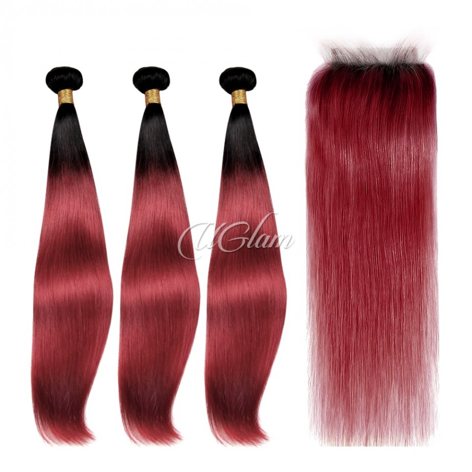 Uglam Hair Bundles With 4x4 Lace Closure Black Root And Red Color Straight