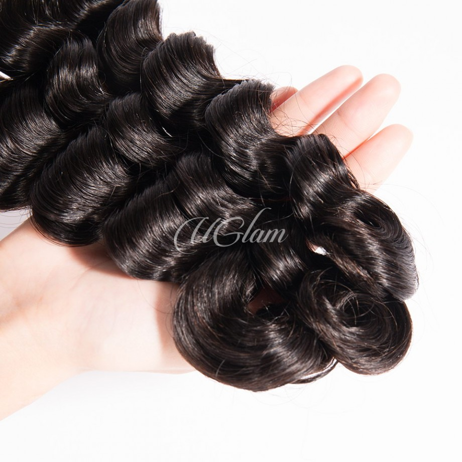 Uglam Hair Bundles With Closure 4x4 Lace Closure Brazilian Loose Deep