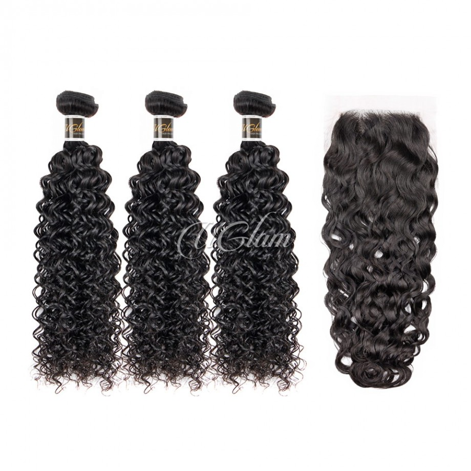 Uglam Hair Bundles With Closure 4x4 Lace Closure Brazilian Water Wave