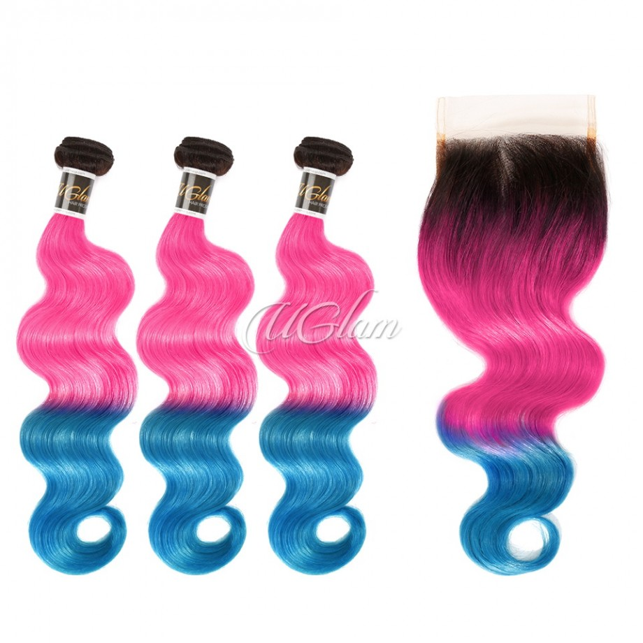 Uglam Hair Bundles With 4x4 Swiss Lace Closure 1B Ombre Pink and Blue Color Body Wave