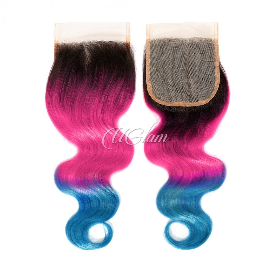 Uglam Hair 4x4 Swiss Lace Closure 1B Ombre Pink and Blue Color Body Wave