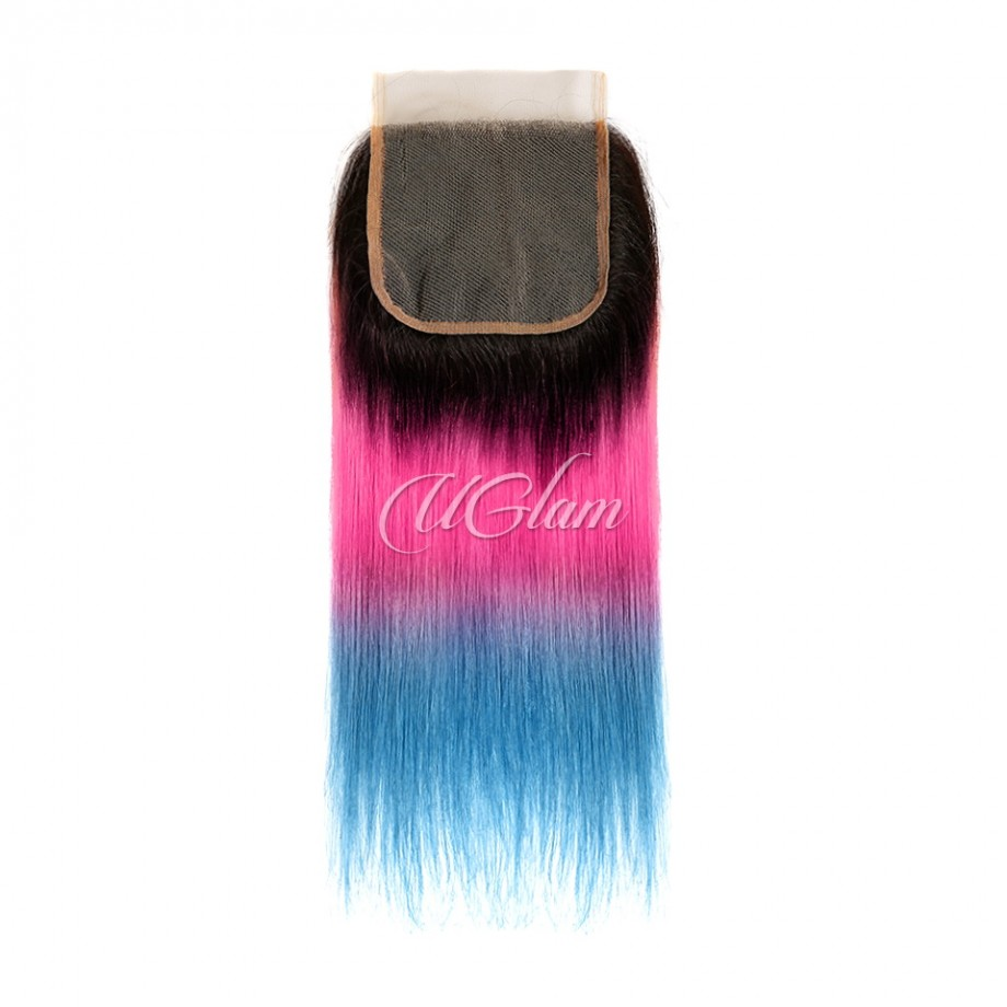 Uglam Hair Bundles With 4x4 Swiss Lace Closure 1B Ombre Pink and Blue Color Straight