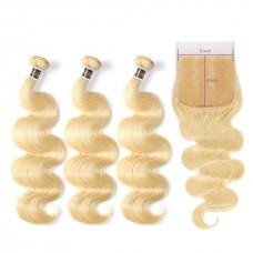 Uglam Hair Bundles With 5x5 Lace Closure Honey Blonde #613 Color Body Wave