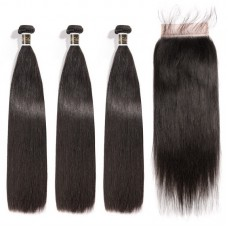Virgin Hair 5X5 Transparent Lace Closure With Bundles Straight Hair Sexy Formula