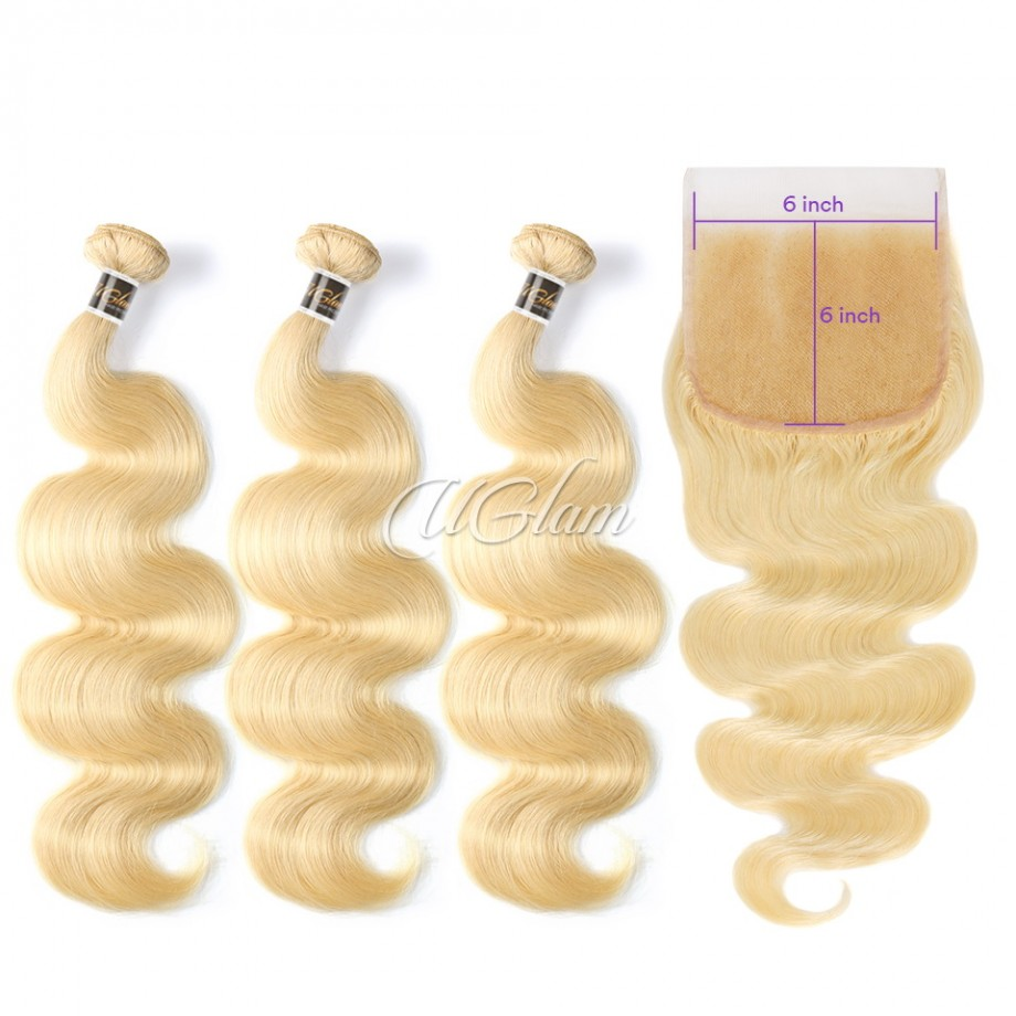 Uglam Hair Bundles With 6x6 Lace Closure Honey Blonde #613 Color Body Wave