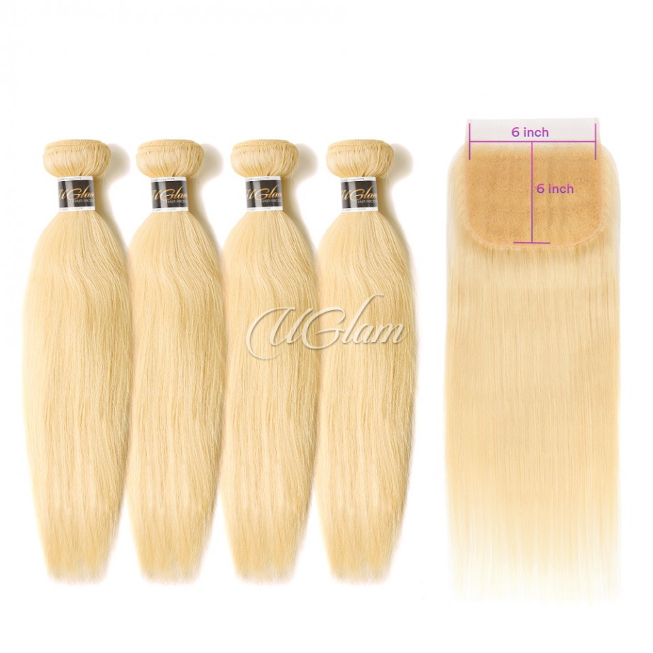 Uglam Hair Bundles With 6x6 Lace Closure Honey Blonde #613 Color Straight