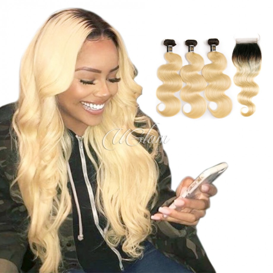 Uglam Hair Bundles With 4x4 Lace Closure Black Root and #613 Color Body Wave