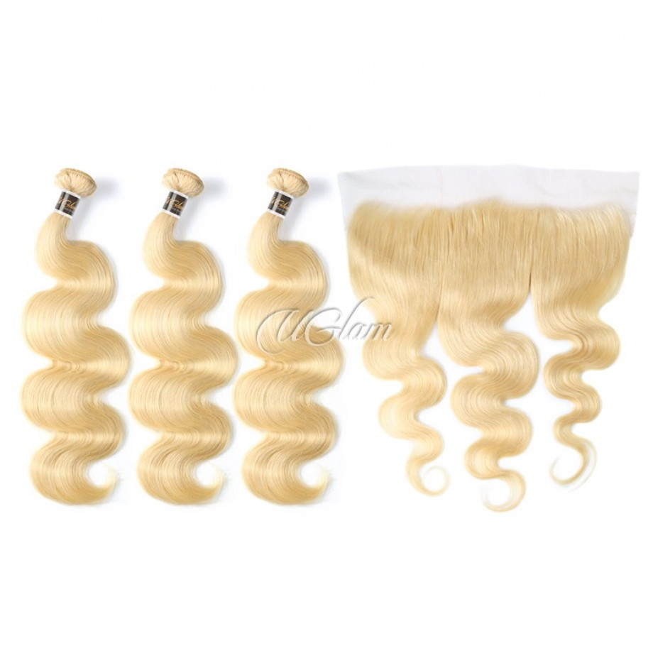 Uglam Hair Bundles With 4x13 Lace Frontal Closure Blonde #613 Color Body Wave