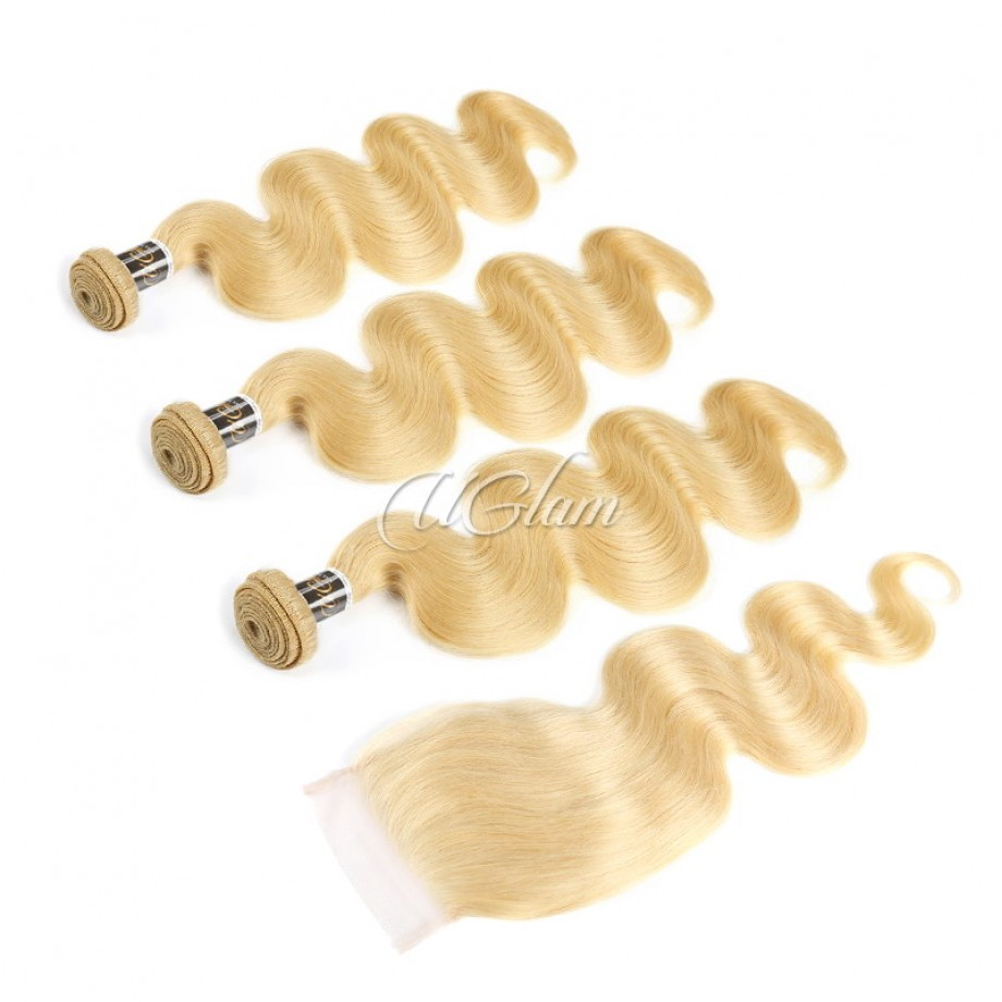 Uglam Hair Bundles With 4x4 Lace Closure Blonde #613 Color Body Wave