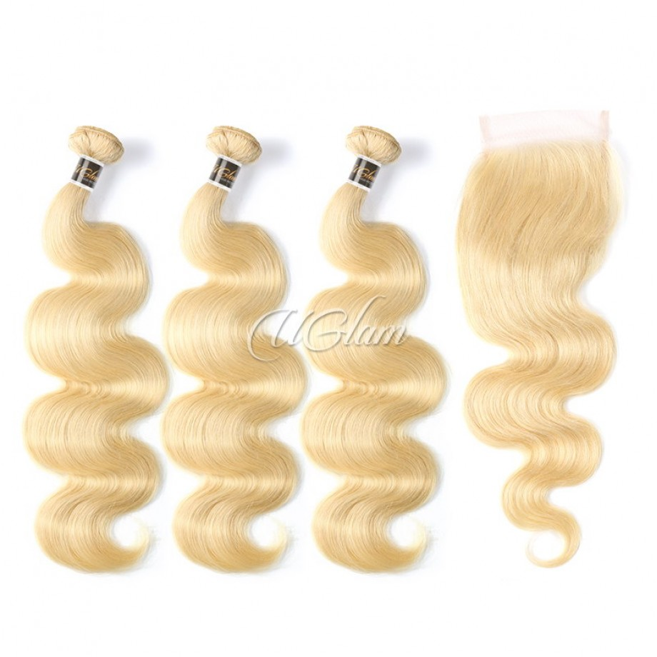 Uglam Bundles With 4x4 Lace Closure Blonde #613 Color Body Wave