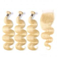 Uglam Bundles With 4x4 Lace Closure Blonde #613 Color Body Wave