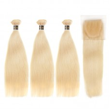 Uglam Bundles With 6x6 Lace Closure Honey Blonde #613 Color Straight