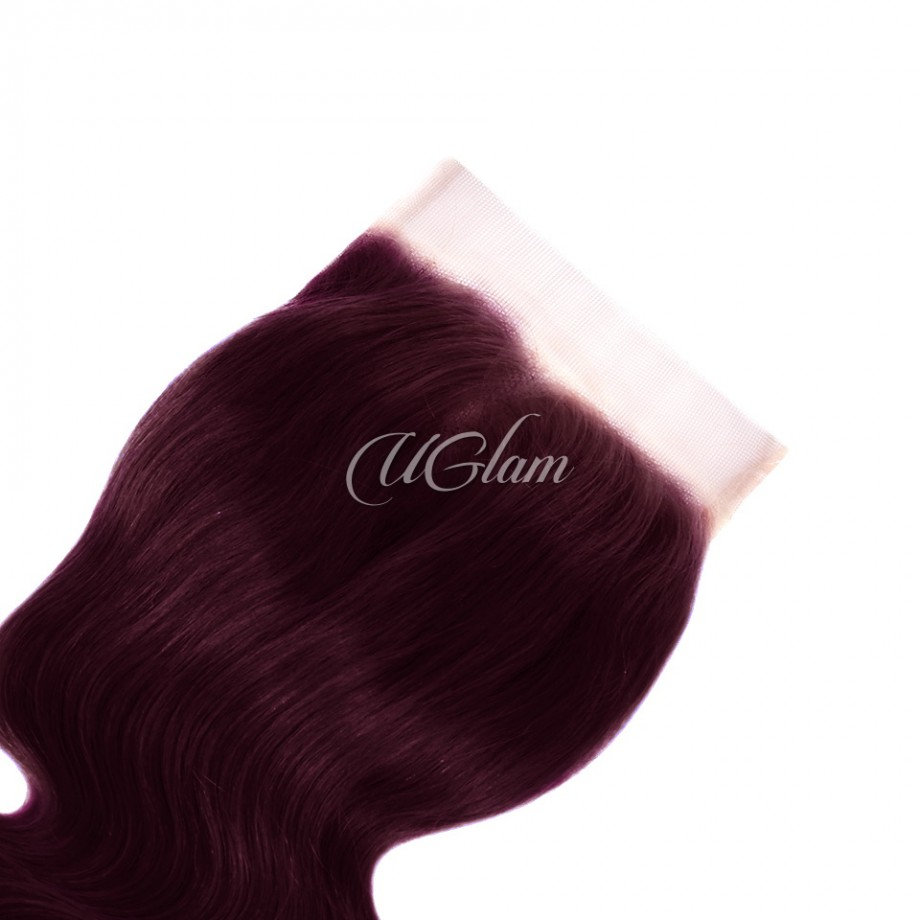 Uglam Hair Bundles With 4x4 Lace Closure #99J Color Body Wave