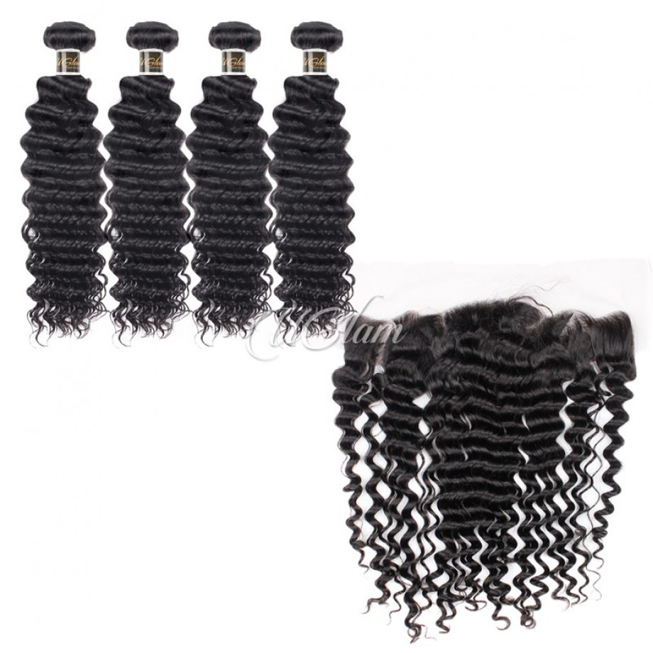 Uglam Hair Bundles With 4x13 Lace Frontal Closure Brazilian Deep Wave