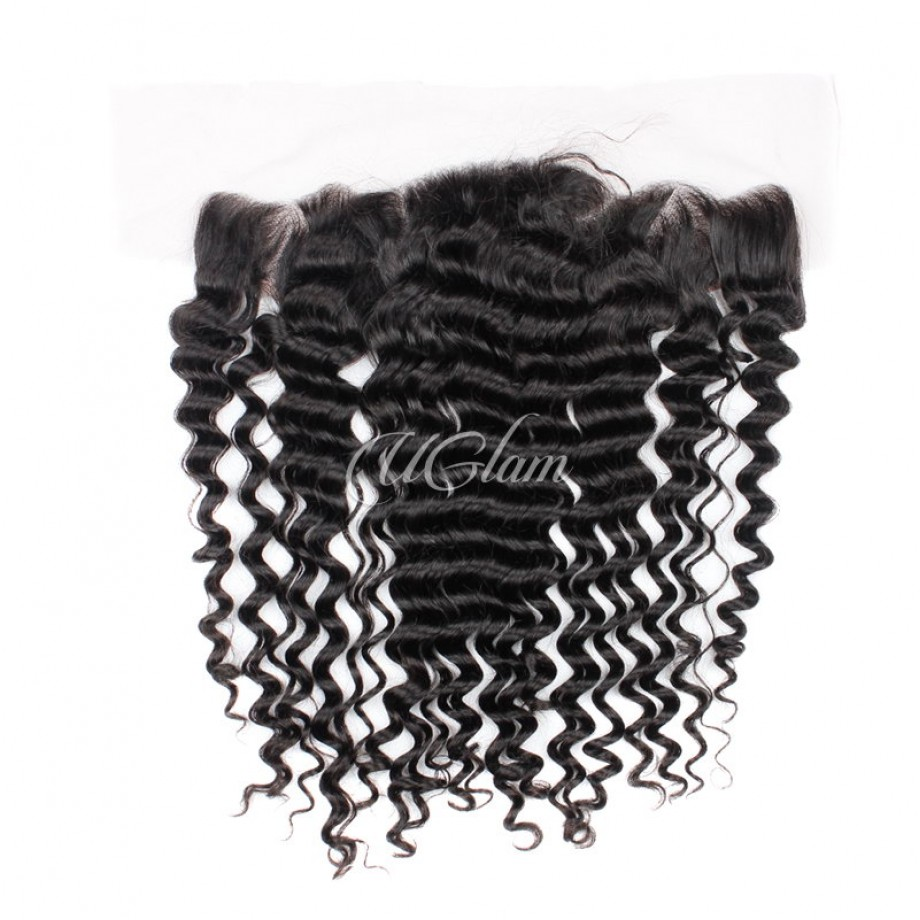 Uglam Hair Bundles With 13x4 Lace Frontal Closure Indian Deep Wave