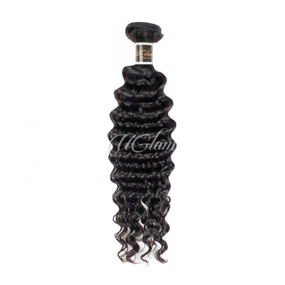 Uglam Hair Bundles With 4x13 Lace Frontal Closure Indian Deep Wave
