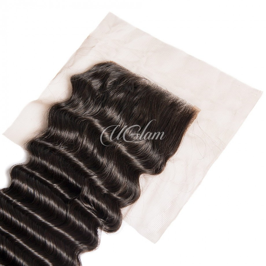 Uglam Hair Bundles With 4x4 Lace Closure Brazilian Deep Wave
