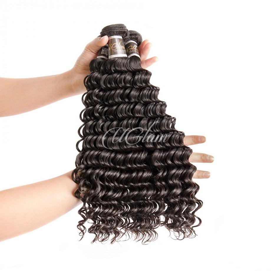 Uglam Hair Bundles With 4x4 Lace Closure Malaysian Deep Wave