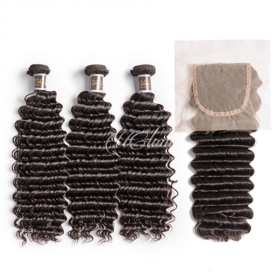 Uglam Hair Bundles With 4x4 Lace Closure Peruvian Deep Wave