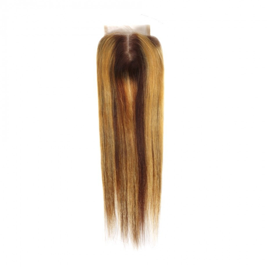 Uglam Double Drawn Bundles With 4X4 Swiss Lace Closure Piano Color #4/27 Straight