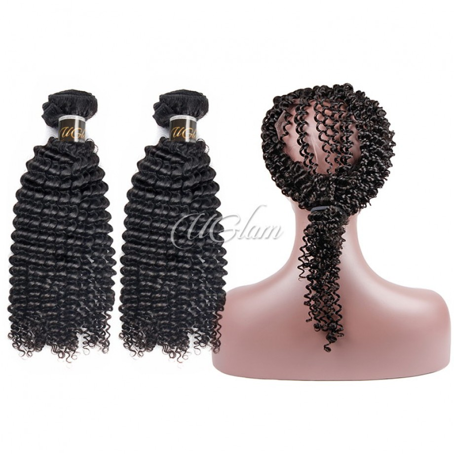 Uglam Virgin Hair Bundles With 360 Lace Frontal Closure Mongolian Kinky Curly Sexy Formula