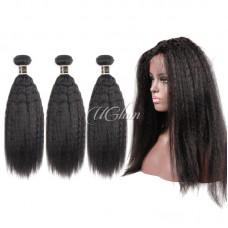 Uglam Bundles With 360 Lace Frontal Closure Mongolian Kinky Straight Sexy Formula