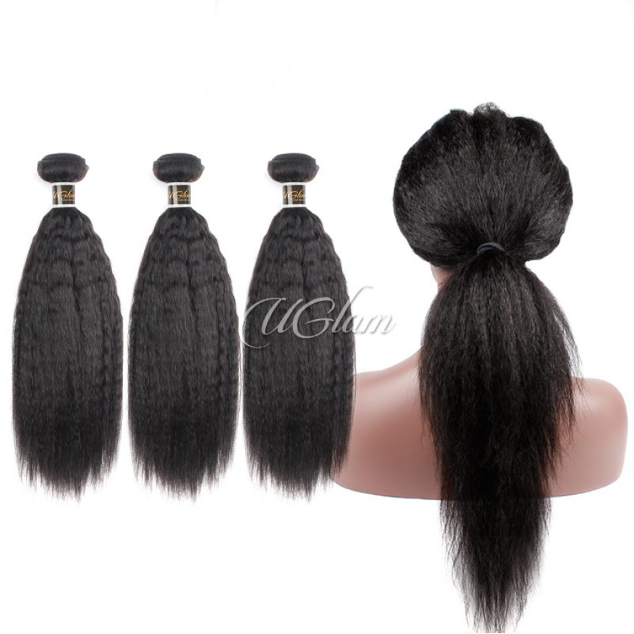 Uglam Bundles With 360 Lace Frontal Closure Mongolian Kinky Straight Sexy Formula